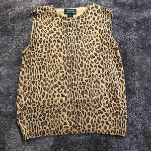 Ralph Lauren leopard print sleeveless knit size L